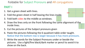 Foldable for Subject Pronouns and AR conjugations