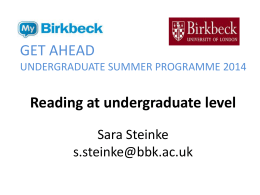 Reading at undergraduate level