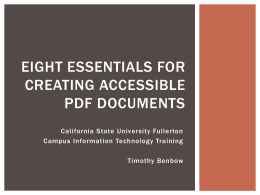 Eight Essentials for Creating Accessible PDF Documents