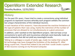 OpenWorm Extended Research