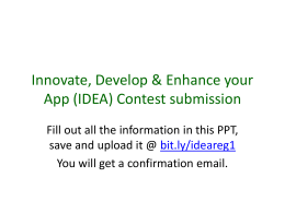 Innovate, Develop & Enhance your App (IDEA) Contest submission