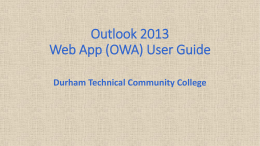 Outlook Web App (OWA) User Guide
