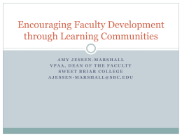 Encouraging Faculty Development through Learning Communities