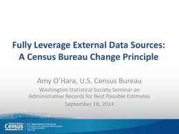Amy O`Hara, Census - Washington Statistical Society