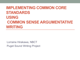 Implementing Common Core Standards using Common Sense