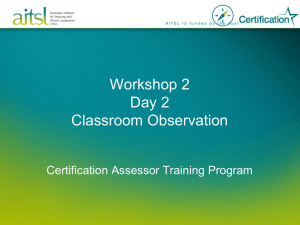 ATP - Workshop 2 - Classroom observation PowerPoint