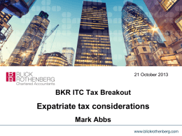 Expatriate Tax Considerations