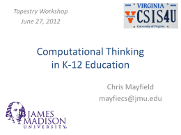 Computational Thinking in K-12 Education