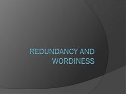 Redundancy and Wordiness PowerPoint