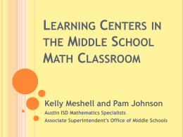 Learning Centers in the Middle School Math Classroom