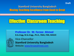 Effective Classroom Teaching - Stamford University Bangladesh