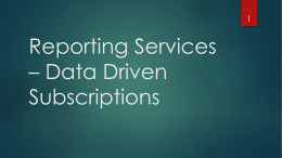 SSRS Data Driven Subscriptions
