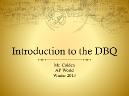 Introduction to the DBQ - Cathedral Catholic High School