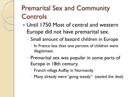 Premarital Sex and Community Controls