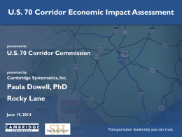 US 70 Corridor Economic Assessment