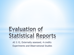 Evaluation of reports on experiments and observational studies Ppt