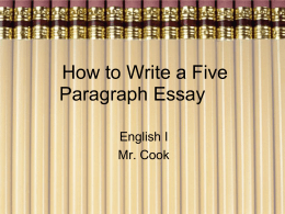 How to Write a Five Paragraph Essay Using Spool Design