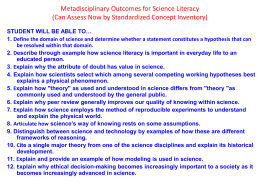 Metadisciplinary Outcomes for Science Literacy (Can Assess Now