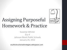 Homework ppt - ESU4InstructionalStrategies