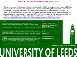 Physics & Astronomy Summer Research Bursaries 2013