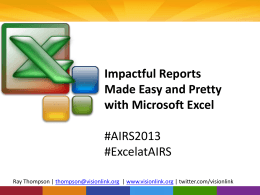 Impactful Reports Made Easy and Pretty with Microsoft Excel
