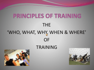 Principles of Training - BSH-PE