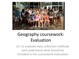 Geography coursework: Evaluation