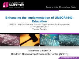 Enhancing the Implementation of UNSCR1540