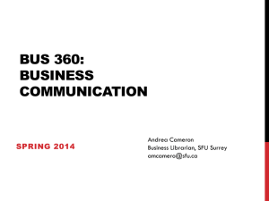 BUS 360: Business COMMUNICATION Library research