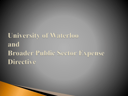 University of Waterloo and Broader Public Sector Expense Directive