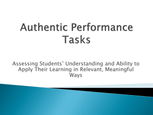 Authentic Performance Tasks