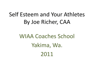 Self Esteem and Your Athletes By Joe Richer, CAA