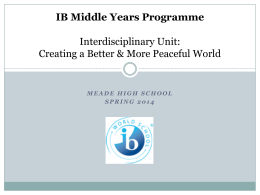 IB Middle Years Programme Interdisciplinary Unit