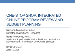One Stop Shop-Integrated Online Program Review