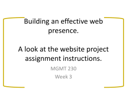 Building an effective web presence