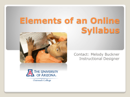 Elements of an Online Syllabus - U