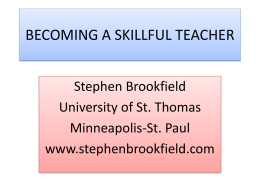 Becoming a Skillful Teacher