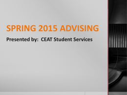 Spring Advising 2015 - CEAT Student Services