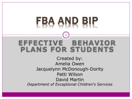 Initial Line of Inquiry: - FBA-behaviorsupport