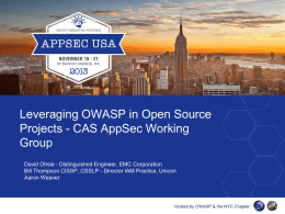 Leveraging OWASP in Open Source Projects – CAS AppSec