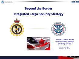 Beyond the Border Integrated Cargo Security Strategy