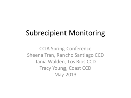 Subrecipient Monitoring - Community College Internal Auditors