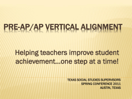 Pre-AP – AP Vertical Alignment TSSSA 2011