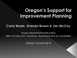 OR: Support for Improvement Planning