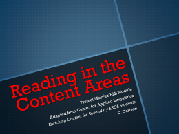 Content Area Reading with ELLS