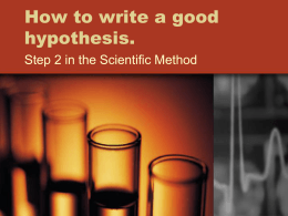 How to write a good hypothesis.