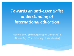 Towards an anti-essentialist understanding of international education