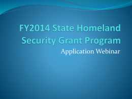 FY2014 State Homeland Security Grant Program