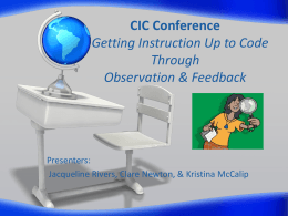 CIC Conference Landscaping Instruction Through Observations