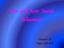 and Anti- Social Behaviour chp 10